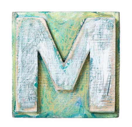 abc blocks: Wooden alphabet block, letter M
