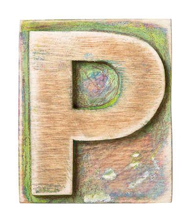 Wooden alphabet block, letter P