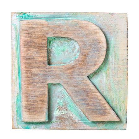 uppercase: Bloque del alfabeto de madera, letra R
