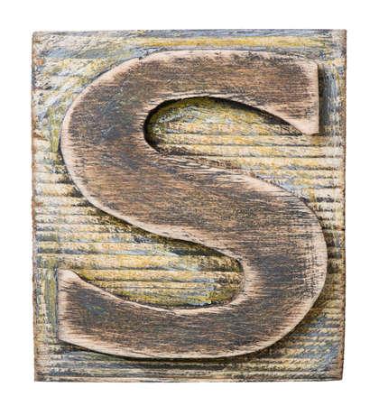 alphabet s: Bloque del alfabeto de madera, letra S