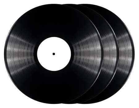 black vinyl records isolated on white background stock photo
