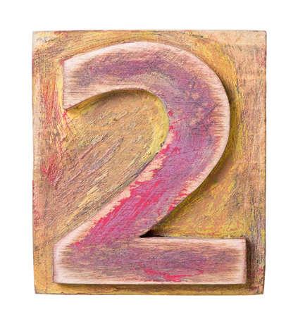 Wooden alphabet block, number 2 Stock Photo - 20612695