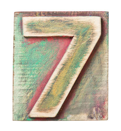 Wooden alphabet block, number 7 photo