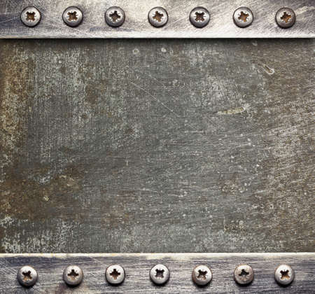 metal sheet: Metal plate texture with screws. Stock Photo