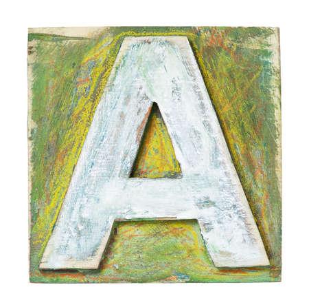 printing block block: Wooden alphabet block, letter A