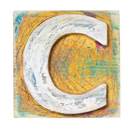 letter blocks: Wooden alphabet block, letter C