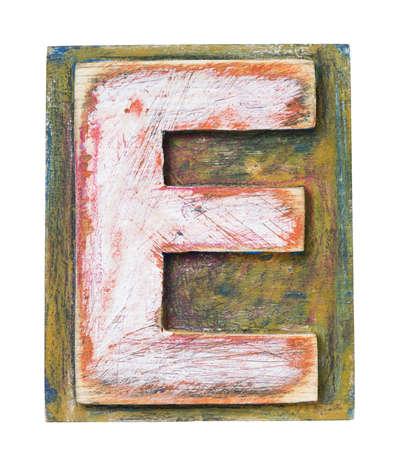 letterpress blocks: Wooden alphabet block, letter E