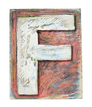 abc blocks: Wooden alphabet block, letter F