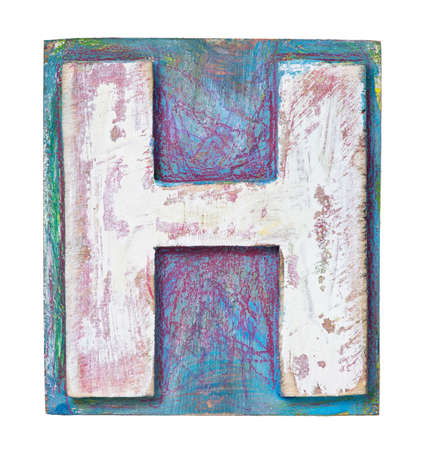 Wooden alphabet block, letter H