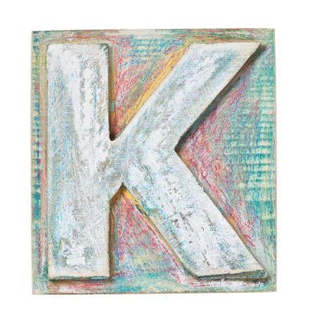 letterpress blocks: Wooden alphabet block, letter K