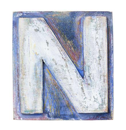 letterpress blocks: Wooden alphabet block, letter N Stock Photo