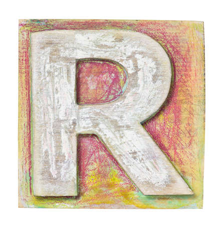 printing block: Wooden alphabet block, letter R Stock Photo
