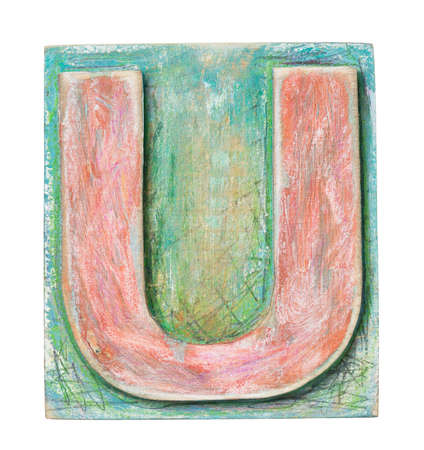 tipos de letras: Bloque del alfabeto de madera, letra U Foto de archivo
