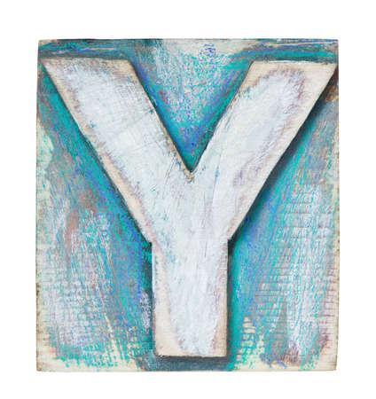 letterpress blocks: Wooden alphabet block, letter Y Stock Photo