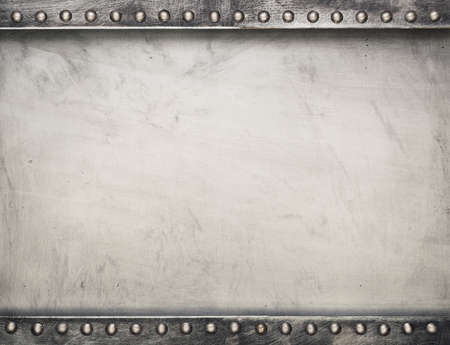 rusty metal: Industrial metal plate background with rivets