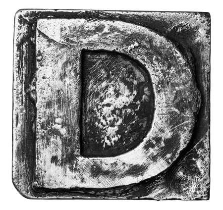 typeset: Metal alloy alphabet letter D Stock Photo