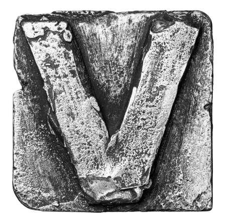 Metal alloy alphabet letter V photo
