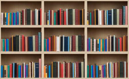 cupboards: Books on a wooden shelfs.
