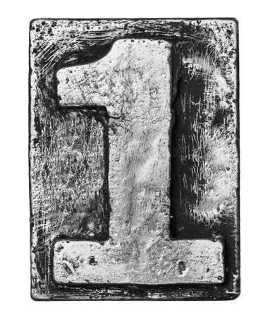 Metal alloy alphabet number 1 Stock Photo - 22107904