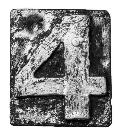 Metal alloy alphabet number 4 Stock Photo - 22107909