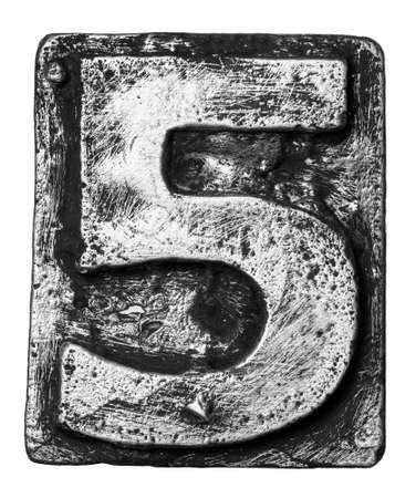 Metal alloy alphabet number 5 photo