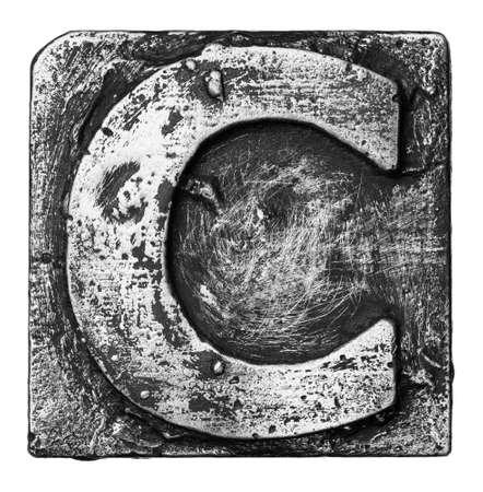 Metal alloy alphabet letter C photo