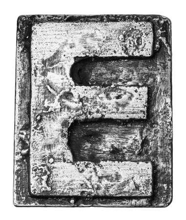 Metal alloy alphabet letter E photo