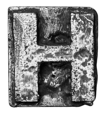 Metal alloy alphabet letter H photo