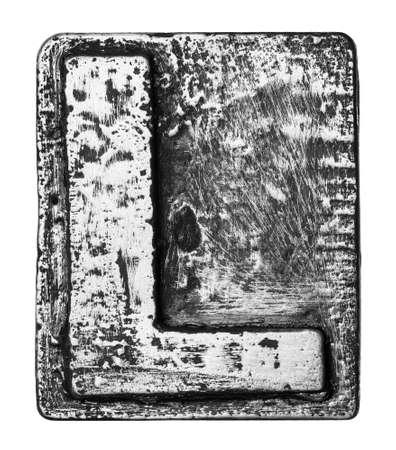 l plate: Metal alloy alphabet letter L