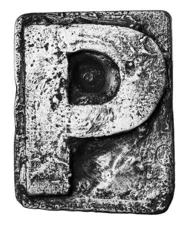 Metal alloy alphabet letter P photo