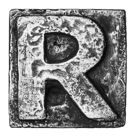 black block: Aleaci?n de metal alfabeto letra R