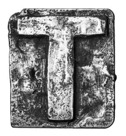 Metal alloy alphabet letter T photo