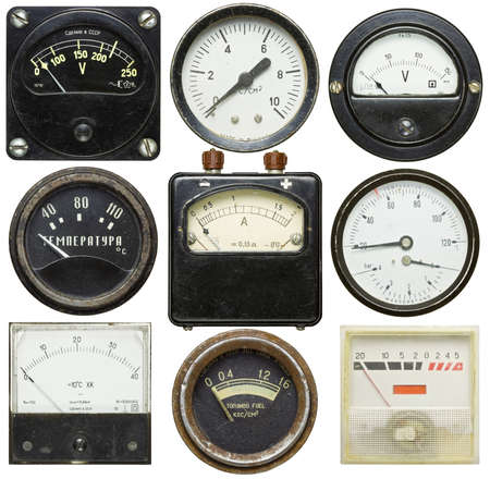 Old gauges isolated on white background photo