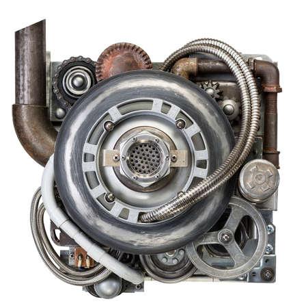 steam machine: Stylized metal collage of engine.