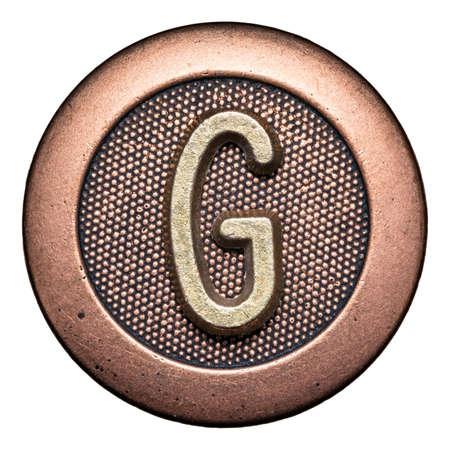 g alphabet: Metal button alphabet letter