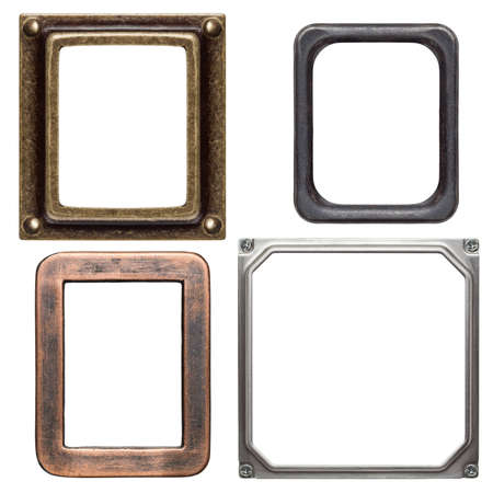 Empty metal frames, isolated on white photo