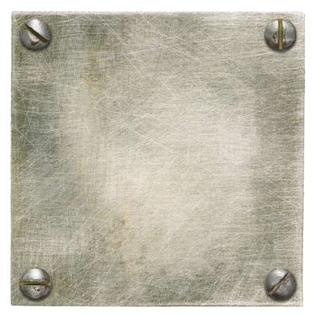 screw heads: Metal plate texture with screws. Stock Photo