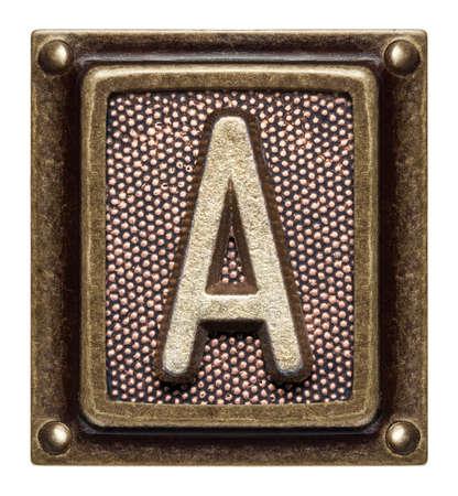 old letters: Metal button alphabet letter A