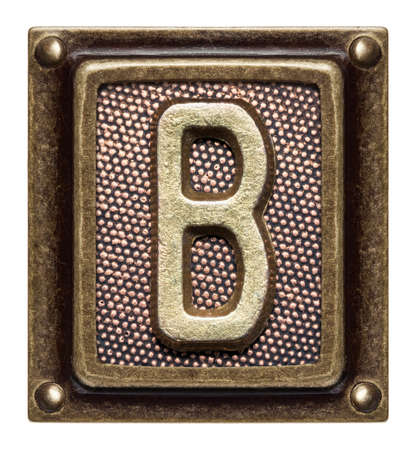 Metal button alphabet letter B Stock Photo - 22557139
