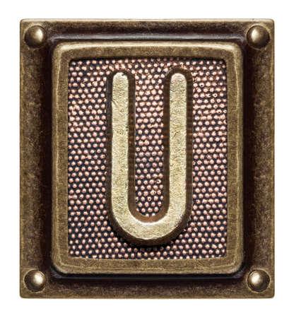 Metal button alphabet letter U Stock Photo - 22557157