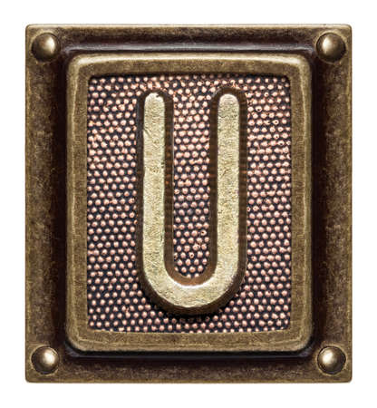 Metal button alphabet letter U Stock Photo - 22557157