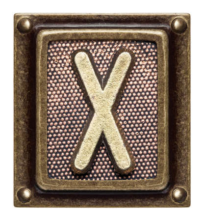 Metal button alphabet letter X Stock Photo - 22557161