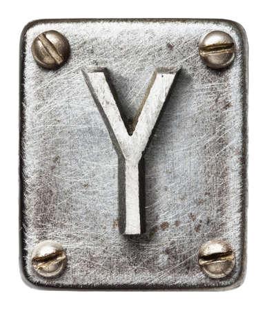 shiny metal: Old metal alphabet letter Y