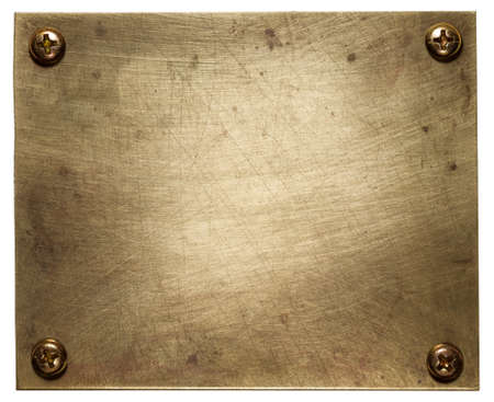 Brass plate texture, old metal background. Stock Photo