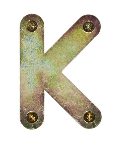 letter head: Old metal alphabet letter K Stock Photo