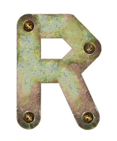 letter head: Old metal alphabet letter R Stock Photo