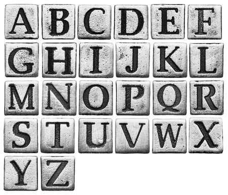 Metal alphabet letters isolated on white Stock Photo