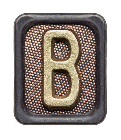 Metal button alphabet letter B photo