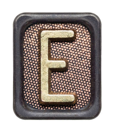 Metal button alphabet letter E photo