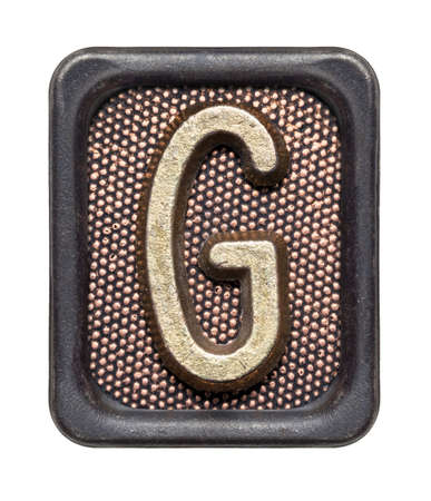 Metal button alphabet letter G photo